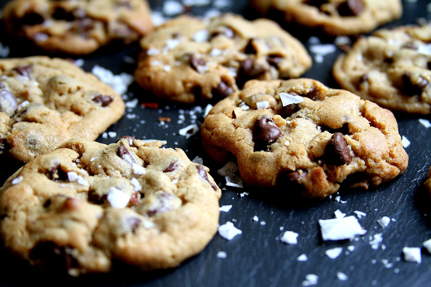 Peanut Butter Chocolate Chip Cookies Topped With Sea Salt Recipes ...